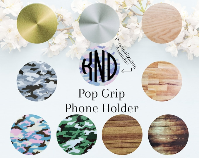 Pop Socket Grip Phone Holder Custom Personalized Monogram Initials Add Decal Printed Camo Wood