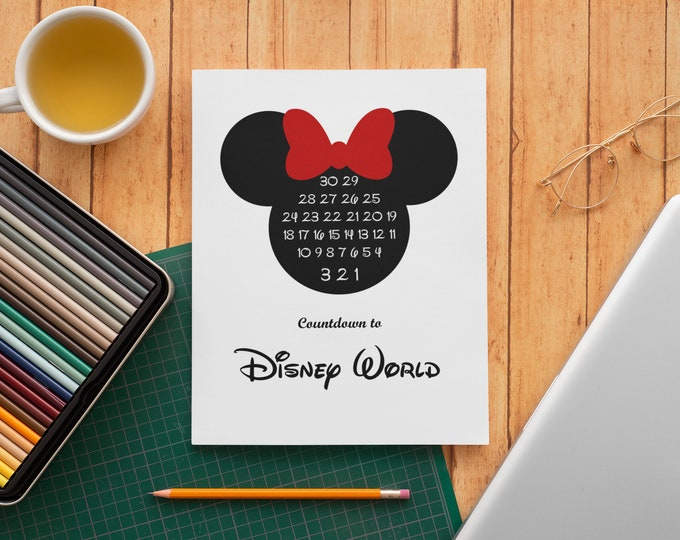 Disney World Countdown Print Minnie Ears Download Poster Art