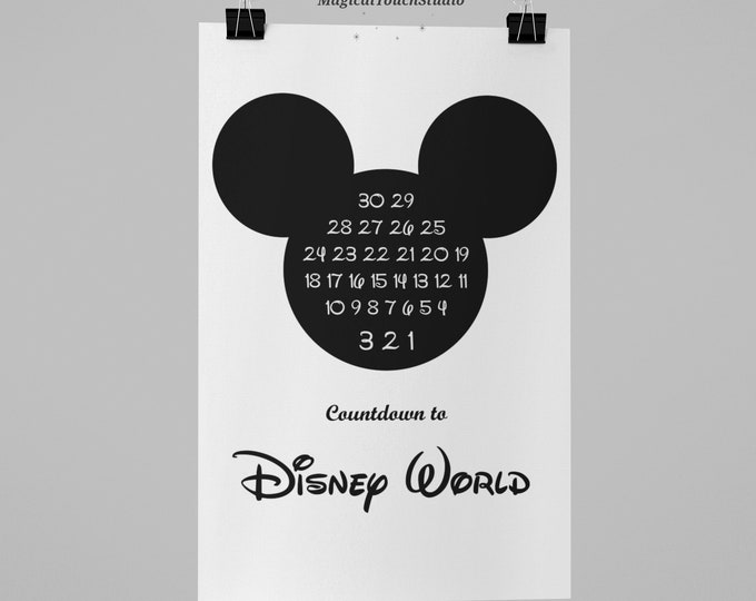 Disney World Countdown Print Mickey Ears Download Poster Art