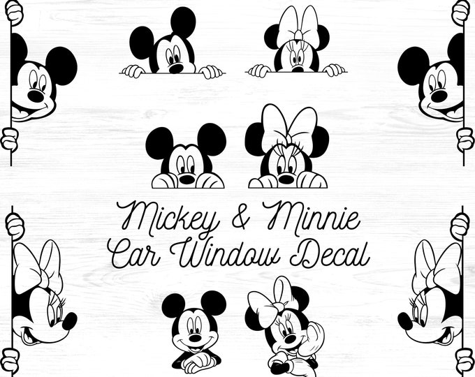 Mickey and Minnie Peaking Car Window Decal