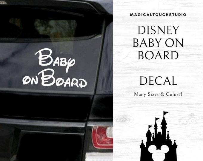 Disney Baby on Board Car Window Yeti Mug Tumbler Vinyl Decal