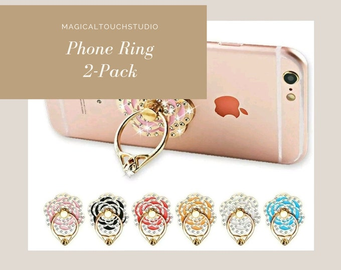 2 Pack Finger Ring Cell Phone Holder Grip Kickstand Crystal Rose Flower