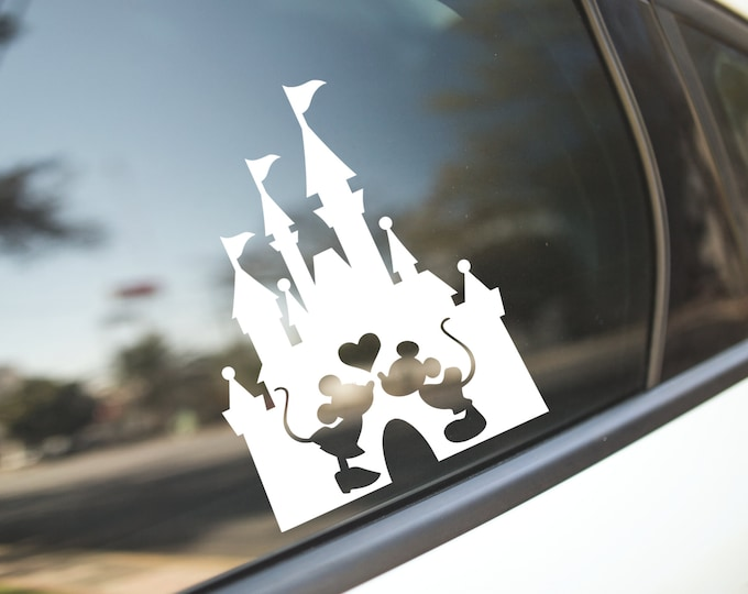 Minnie & Mickey Castle Car Window Decal