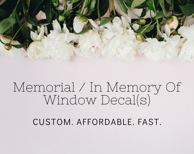 Memorial In Memory Of Car Window Decals