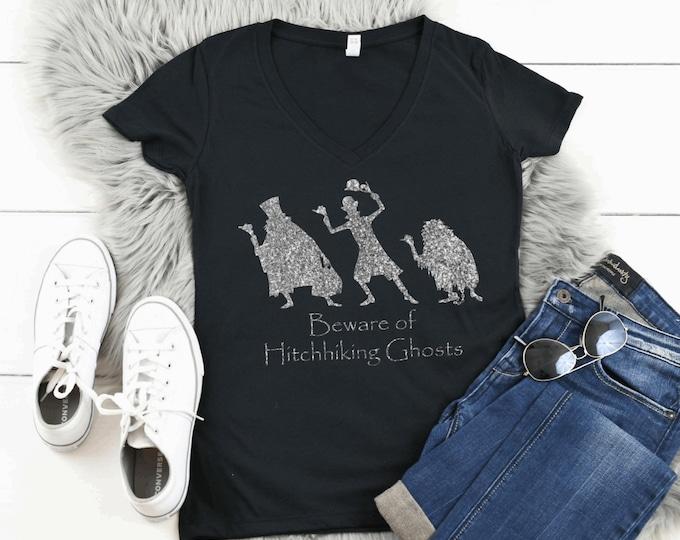 Glitter Disney Haunted Mansion Womans Tshirt V Neck Dark Grey Next Level