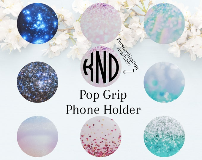 Pop Socket Grip Phone Holder Custom Personalized Monogram Initials Add Decal Printed Glitter