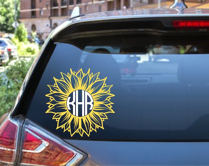 Sunflower Custom Personalized Name Initial Monogram Car Window Decal