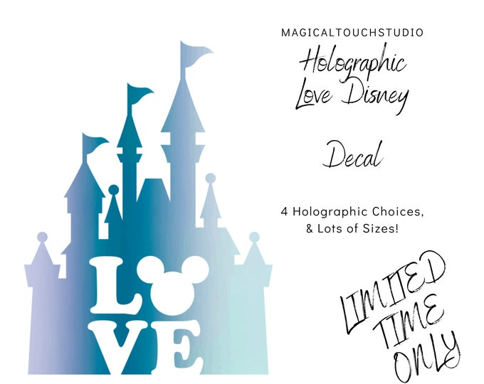 Holographic Love Disney Castle Car Window Decal
