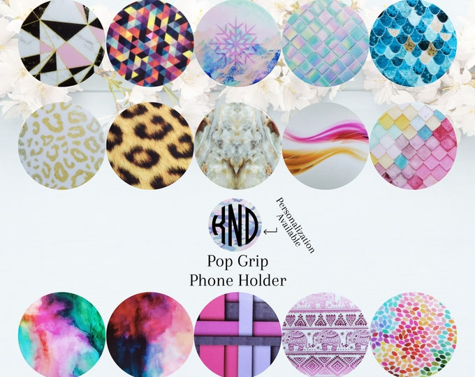 Pop Socket Grip Phone Holder Custom Personalized Monogram Initials Add Decal Printed