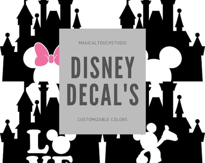Disney Mickey Minnie Mouse Castle Silhouette Disney Car Window Decal