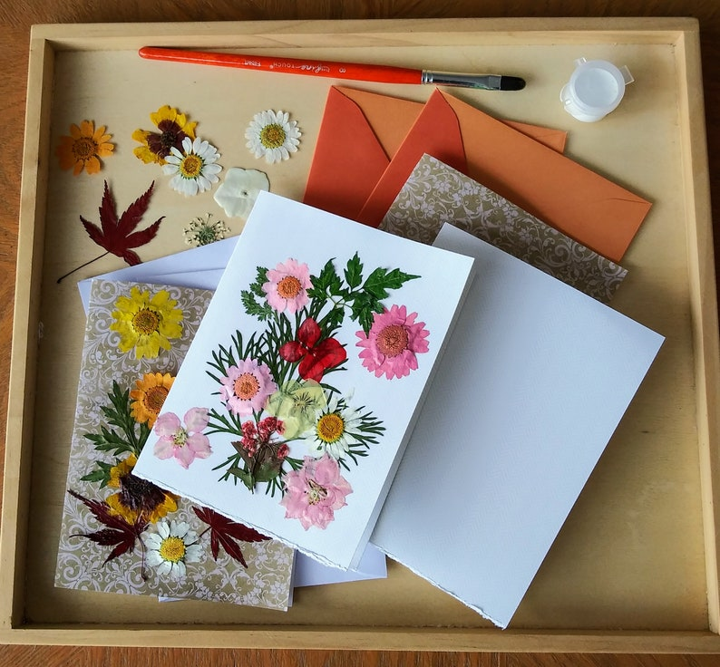 Private Virtual Craft Party Pressed Flower Cards