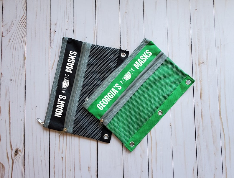 Mask Pouches  Back to School Custom Mask holders  Kids mask bags
