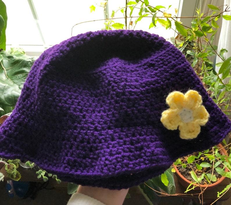 Vintage Like Floral Purple Yellow White Cap Handmade Crochet Flower Bucket Hat Hip Trendy Yarn Knit Unique Accessory Gift Women Men