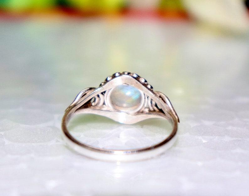 Pear Ring Handmade Bazel Ring Moonstone Ring 925 Silver Bazel Ring Birthstone White Moonstone Ring White Rainbow moonstone Ring