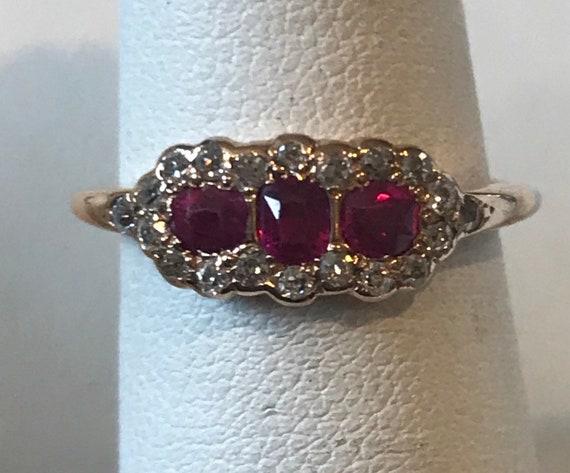 Ruby diamond ring antique circa 1920's three rubie