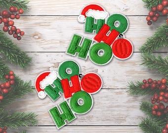 HOHOHO Patch, Embroidered Christmas Hohoho Iron On Patch Applique (2-Pack) - FREE SHIPPING