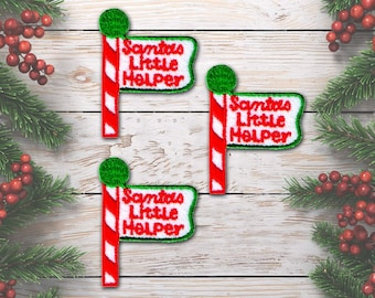 Santa's Little Helper Sign Post Iron on Patch - Embroidered Santa's Little Helper Sign Post Iron On Patch Applique (3-Pack) - FREE SHIPPING