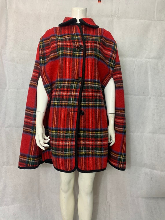 1960s Tartan/Plaid Wool Reversible Cape, Poncho.
