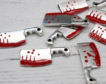 5 x Clever Charms, Meat clever, Chef Knife, Bloody Knife, Jewellery Making, Craft Supplies, Metal Charms, Jewellery Findings, Pendant