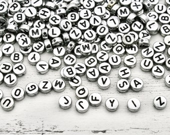 50 x Alphabet Silver Acrylic Beads With Hole, Craft Supplies, Alphabet Beads, Letter Beads, Mixed letter Beads, Jewellery Making