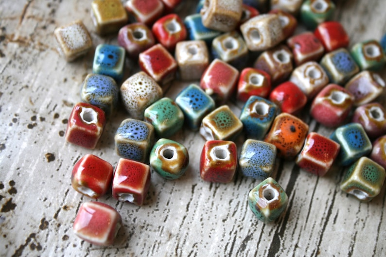 Craft Supplies Beading 10 x Ceramic Porcelain Cube Beads With Centre Hole Jewellery Supply Ceramic Jewellery Making Beads