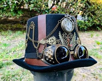 Mad Hatter hat Costume Hat. Men/'s wedding hat Custom patchwork Top Hat Burning man hat Tea party Alice in Wonderland