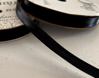 Offray Single Face Satin Ribbon - Black Satin Ribbon - 21 Feet Spool