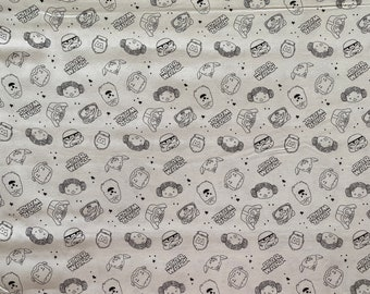Star Wars Fabric - Star Wars Doodle Fabric  - By the 1/4 Yard - 100% Cotton Fabric - C3PO - Darth Vader - Princess Leia Yoda Stormtroopers