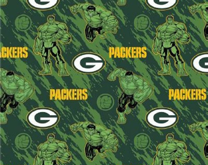 Green Bay Packers Fabric - Hulk Fabric - By the 1/4 Yard - Quick Shipping **LIMITED EDITION**