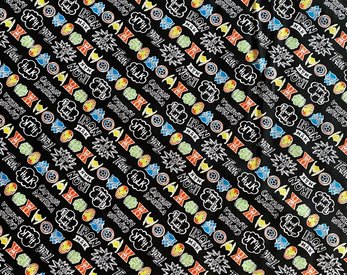 Marvel Fabric - Superhero Fabric - Marvel Doodle Fabric - By the 1/4 Yard - Quick Shipping  - Iron Man Captain America Thor Spider-Man