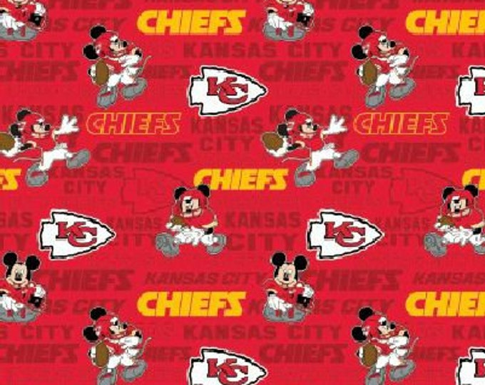 KC Chiefs Fabric - Mickey Mouse Fabric - By the 1/4 Yard - Quick Shipping ** LIMITED EDITION **