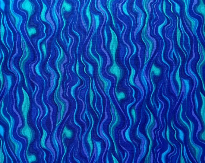 Blue Wave Fabric - Wavy Stripe Fabric - By the 1/4 Yard - Quick Shipping - Perfect for Mask Making