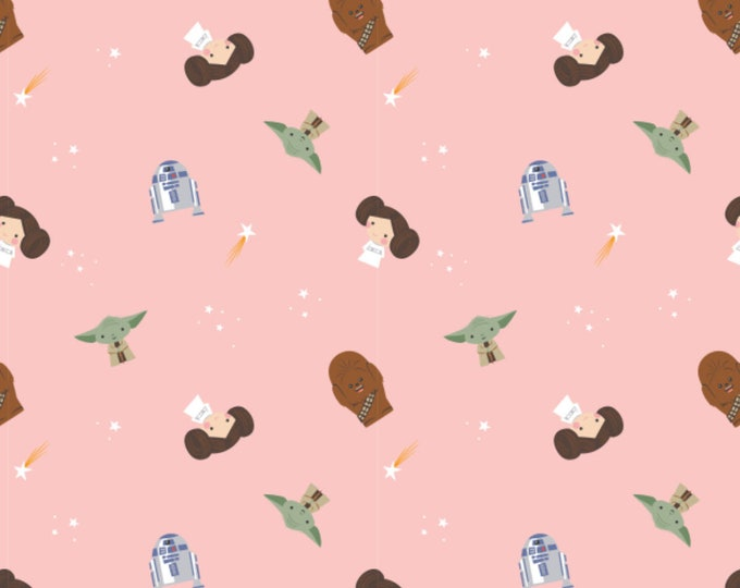Star Wars Fabric - Princess Leia Fabric - Rebel Dreams Fabric - By the 1/4 Yard - Quick Shipping - 100% Cotton Fabric - R2-D2 Fabric - Yoda