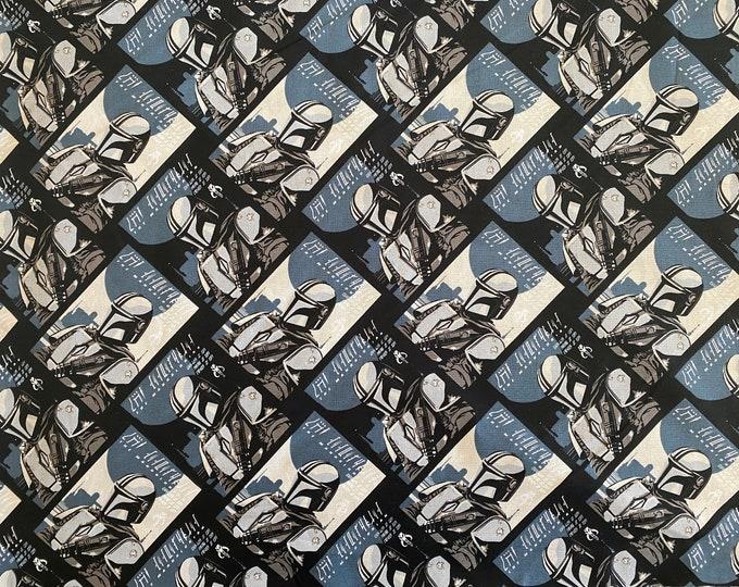 The Mandalorian Fabric - Star Wars Fabric - Mandalorian Fabric - By the 1/4 Yard - Quick Shipping - 100% Cotton Fabric - Quilting Cotton