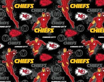 Kansas City Chiefs Fabric - Iron Man Fabric - By the 1/4 Yard - Quick Shipping ** LIMITED EDITION **