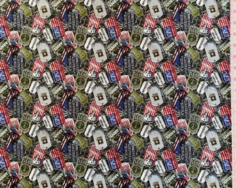 Army Fabric - US Army Fabric - By the 1/4 Yard - Quick Shipping - Cotton Fabric - US Army Tags