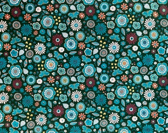 Teal Floral Fabric - Butterfly fabric - Flower Fabric - By the 1/4 Yard - Quick Shipping - Perfect for Mask Making