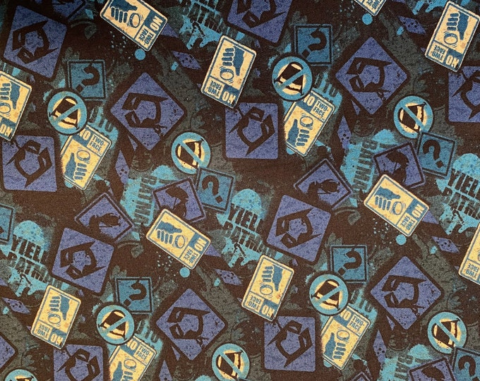 Batman Fabric - Batman Warning Signs Fabric - By the 1/4 Yard - Quick Shipping - Perfect for Mask Making