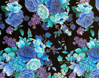 Blue Floral Fabric - Purple Flower fabric - Flower Fabric - By the 1/4 Yard - Quick Shipping - 100% Cotton