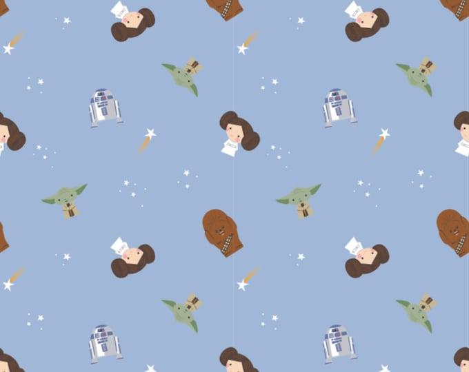 Star Wars Fabric - Princess Leia Fabric - Blue Rebel Dreams Fabric - By the 1/4 Yard - Quick Shipping - 100% Cotton Fabric - R2-D2 - Yoda