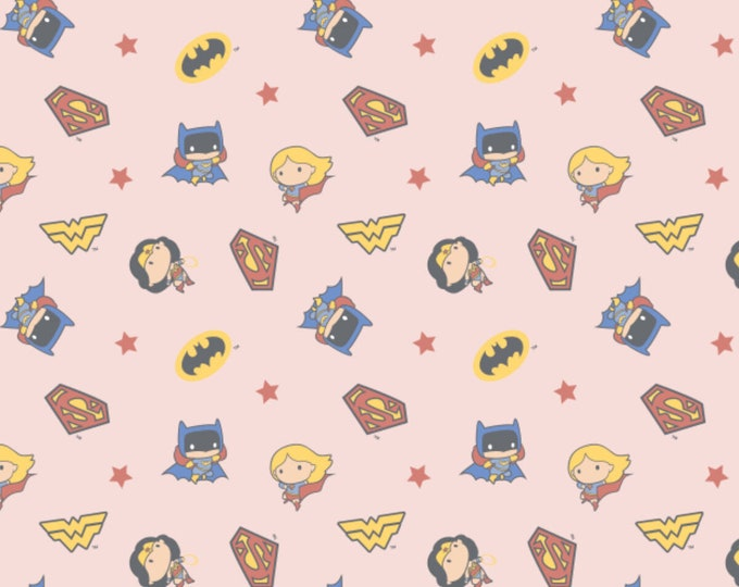 DC Girl Heros Fabric - Girl Hero Fabric - By the 1/4 Yard - Quick Shipping - 100% Cotton Fabric - Quilting Fabric - Comic Book Fabric