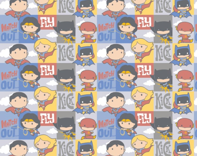 DC Heros Fabric - Heros in Action Fabric - By the 1/4 Yard - Quick Shipping - 100% Cotton Fabric - Quilting Fabric - Comic Book Fabric