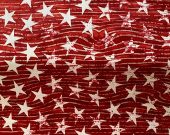 Red Stars and Stripes Fabric - By the 1/4 Yard - Quick Shipping - Perfect for Mask Making
