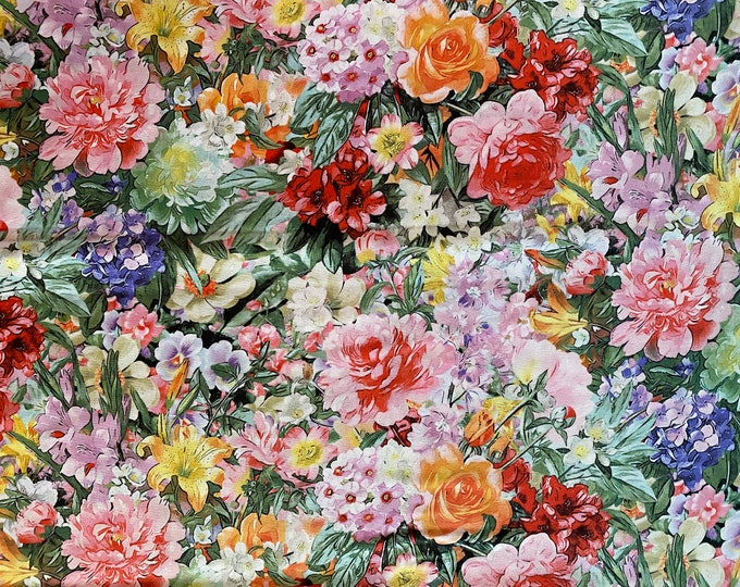 Floral Fabric - Flower fabric -  By the 1/4 Yard - Quick Shipping - Perfect for Mask Making