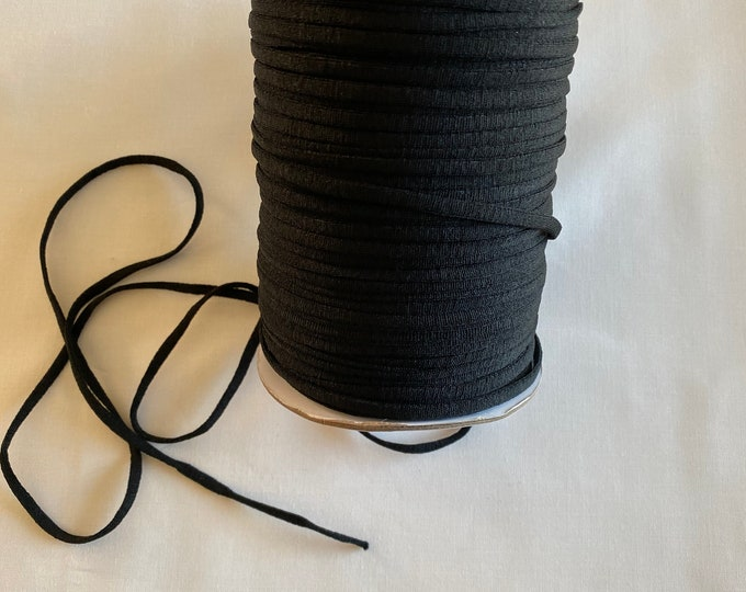 Black Elastic 1/4 inch wide - Perfect for Masks - Sold by the Yard - Soft Rounded Elastic