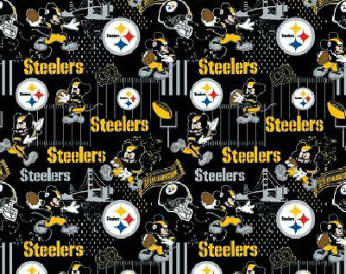 Steelers Fabric - Mickey Mouse Fabric - By the 1/4 Yard - Quick Shipping ** LIMITED EDITION **