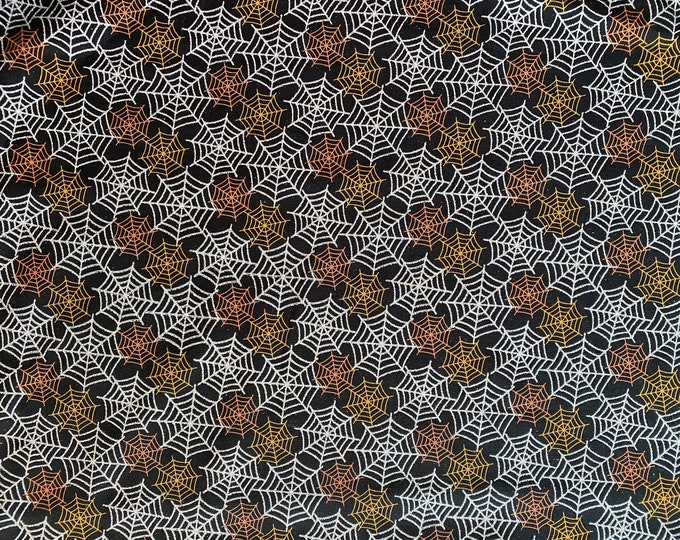 Spiderweb Fabric - Halloween Fabric - Orange Spiderwebs Fabric -Silver Web Fabric - By the 1/4 Yard - Quick Shipping