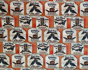 Halloween Fabric - Potion Fabric - Posion Fabric - By the 1/4 Yard - Quick Shipping - Perfect for Mask Making