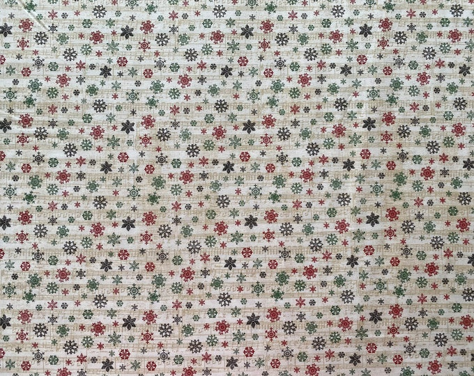 Snowflake Fabric - Christmas Fabric - By the 1/4 Yard - Quick Shipping - Perfect for Mask Making