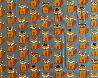 Clever Fox Fabric - Fox in Glasses Fabric - By the 1/4 Yard - Quick Shipping - Perfect for Mask Making